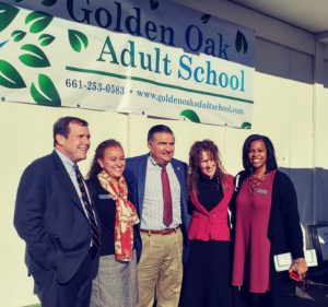 Sen. Scott Wilk, Dr. Mariane Doyle, Assemblyman Dante Acosta, Principal Jodie Hoffman, and Board Member Dr. Cherise Moore Celebrate 70 Years of Golden Oak Adult School.