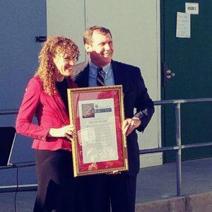 Golden Oak Adult School Principal Jodie Hoffman and Senator Scott Wilk